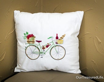 """Embroidered Bicycle Pillow 16"""" Square"""