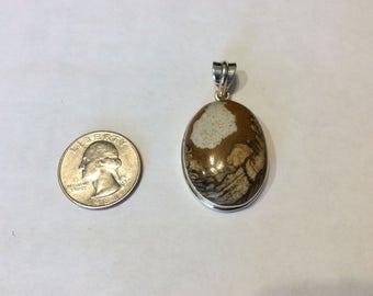 Vintage  sterling silver picture jasper pendant badr