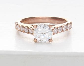 Single Row Rose Gold Engagement Ring, Simple Diamond Engagement Ring, Forever One Moissanite Rose Gold Engagement Ring, Simple Engagement