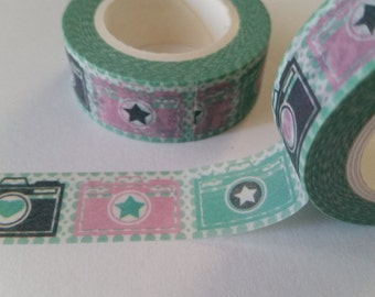 camera with teal polka dot background Washi Tape