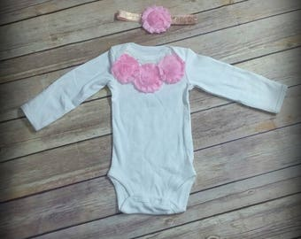 READY TO SHIP, Infant Bodysuit, Baby Girl Outfit, Pink and White, Coming Home Outfit, Hospital Outfit, Gown with Headband, Baby Shower Gift