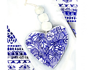 Blue and White Heart ready to hang art print