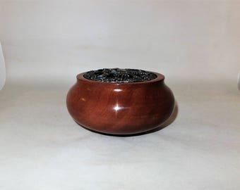 Small wood turned potpourri/trinket bowl made from sapele wood with a pewter lid