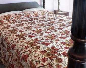 Vintage  Red and Gold Floral Brocade Bedcover or Sofa Cover