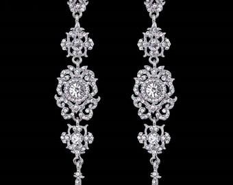 """Long Chandelier Bridal Earrings, Long Crystal statement earrings, 4"""" Wedding earrings,Brides statement earrings, Crystal rhinestone earrings"""