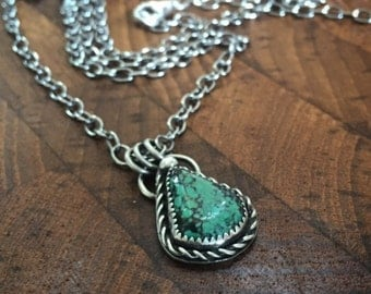 Turquoise Pendant, Rustic, Necklace, Sterling Silver Pendant, Unique, Earthy