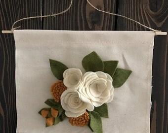 Cream felt flower wall hang