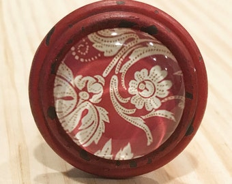Rustic Antique Stlye Red Pewter Knob with Red, White Floral Design in Glass Dome Drawer Pull