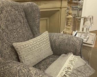 """Taupe velvet pillow cover, lumbar pillow cover, geometric pattern velvet, luxury pillow throw made in Italy  16 x 12"""""""
