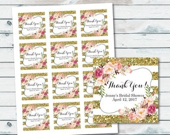 Floral Thank You Tags, Printable Baby Shower Thank You Favors Tags, Customized Gold Glitter Party Favor Tag, Bridal Shower Thank You Tags