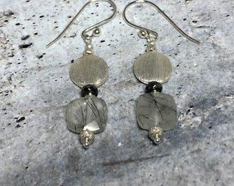 Sterling Silver Earrings | Rutilated Quartz Earrings | Black and Silver Earrings | Dangle Earrings | Gift for Her | Gift Ideas