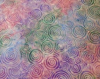 Batik Spirals Hippie Hobo Bag Tote Purse Blue Green Purple