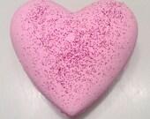 Heart bath bomb - Rose bath bomb - Valentines gift for her - Bath bomb - Pink bath bomb - Bath fizzie - Bridesmaid gift - Bath fizz - Gift