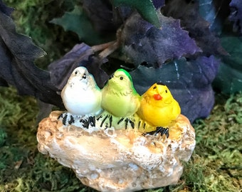 Miniature Songbirds on a Stone - 2 color choices
