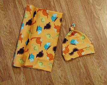 Baby Boy Swaddle Set, blanket, knotted hat, shower gift, hospital gift, orange, dinosaur, science, newborn, preemie, photo prop