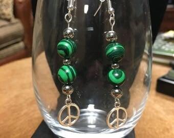 Malachite Peace Earrings