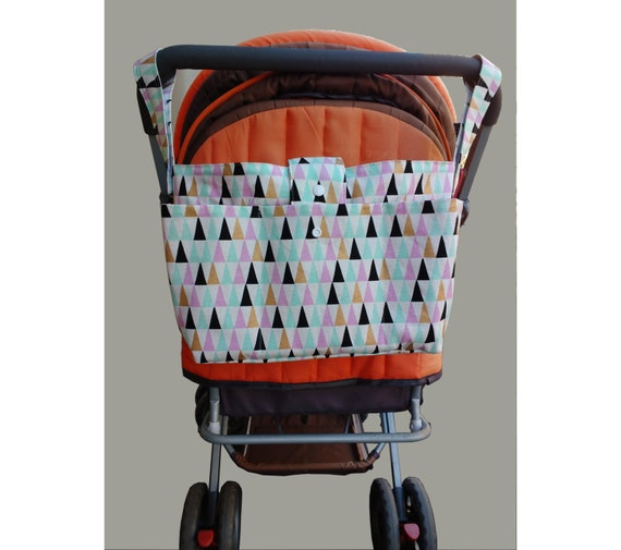 new mother gift - stylish pram caddy - stroller organiser - pram bag - pram organiser- multicolour triangles