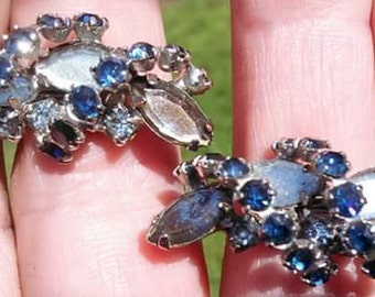 Vintage blue and mirrored grey rhinestone clip on earrings