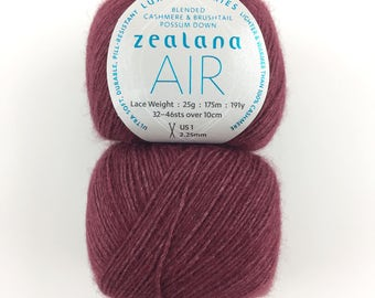 Zealana Air Lace Yarn A07 - BURGUNDY Brushtail Possum, Cashmere, Mulberry Silk Blend Yarn, Cashmere Possum Silk Blend Yarn, Possum Lace Yarn