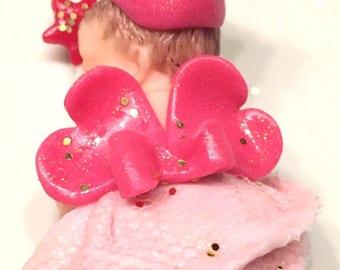 Gift idea / table decoration / handmade/fimo / thumbnail/baby girl, pink, glitter, baby shower/christening/birthday/figurine/cake toppper