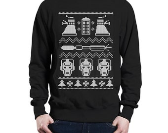 WHO? : Doctor Who Inspired Christmas Sweater/Jumper (High Quality Exclusive Design, Custom Print, 4 Colours Available)