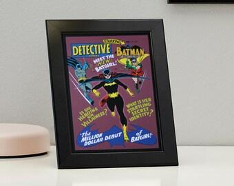 Batman and Robin DC Comics Framed Genuine Postcard Meet Batgirl Superhero Frame, XS040