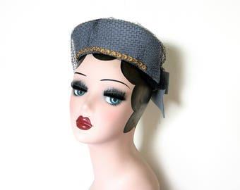 Vintage Blue Grey Felt Pillbox Hat w/Veil~ Circa 1950's