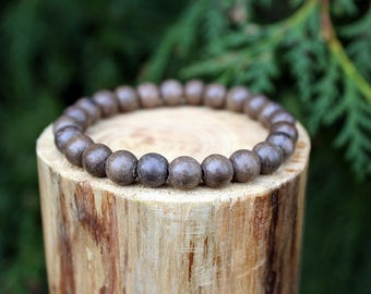 Natural Graywood Bead Bracelet, Graywood Bracelet, Wood Bead Bracelet, Natural Wood Beads, Beaded Bracelet, Men's/Women's bracelet