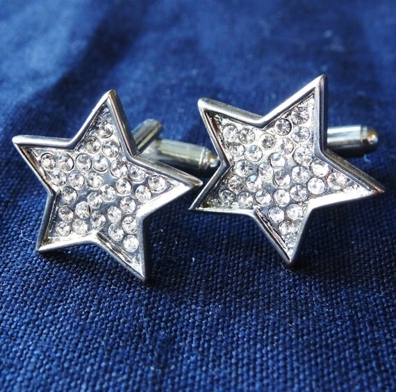 Vintage silvertone rhinestone star men's cuff links