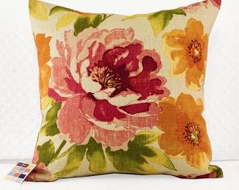 Magenta and Orange Pillow Cover, Marissa Pillow Cover with Magenta and Orange Flowers on Beige