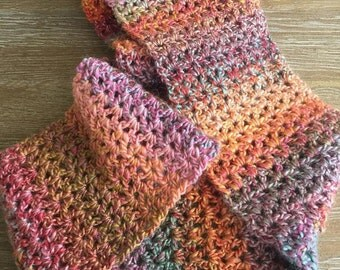 Handmade Crochet infinity scarf in mutlicolor
