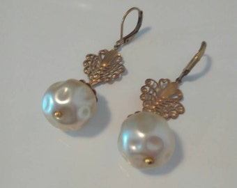 Vintage earrings artdeco ' white pearls