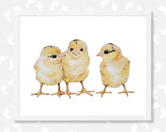 Chicken Printable Art Baby Nursery Instant Download Farm Animal Print Chick Watercolor Painting Nursery Printable Art Digital Download Print