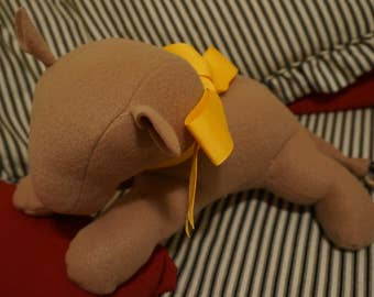 Handmade Sensory-Friendly Softie - The Blank Lion (Large Beige/Yellow Ribbon)