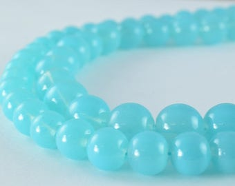 Milky Blue Color Glass Beads Round 8mm/10mm Shine Round Beads For Jewelry Making Item #789222046194