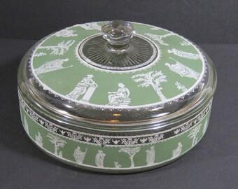 Jeannette Glass Hellenic Greek Green Lidded Candy Dish Wedgwood Jasperware