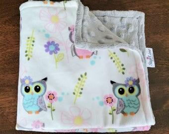 Minky Lovey, Minky Lovie, Owl Baby Shower, Woodland Baby Shower, Baby Girl Lovie, Baby Girl Nursery, Soft Baby Blankie, Owl Baby Shower