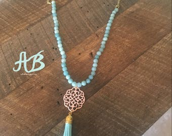 Turquoise Bead Tassel Necklace