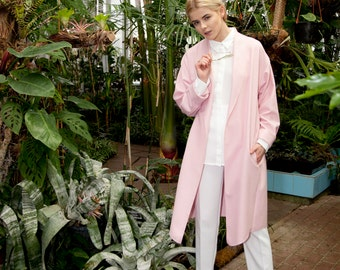 New! Light Premium Wool Cardigan / Moondust Clothing Coat / Pink Summer Coat / Minimalist Design Coat / Oversize Coat / Handmade Spring Coat