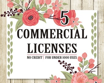 35%off 5 Commercial Licensen for Commercial Use of Patterns & ClipArts