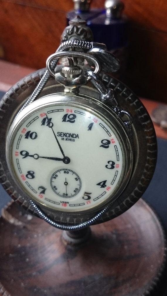 vintage gents sekonda 18 1 pocket ussr white