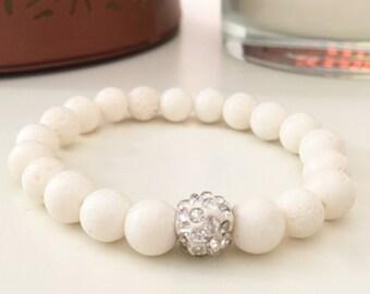 White coral beaded bracelet