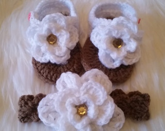 Crochet flower sandals and headband set