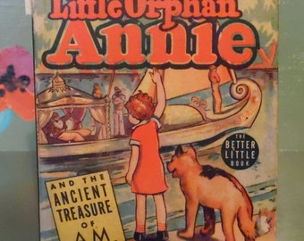 Little Orphan Annie Ancient Treasure AM Better Little Book Comic Graphic Novel Shelf Home Decor Mid Century Modern Retro Vintage Library