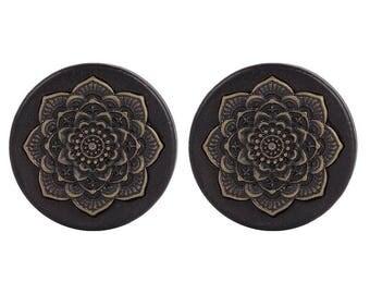 Black Wood Lotus Flower Ear Plugs, Wood Plugs, Ear Stretchers, Ear Plugs