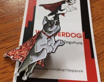 Boston Terrier Wonderdog enamel pin