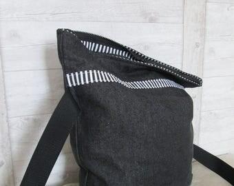 Shoulder bag envelope bag black zipper Strip