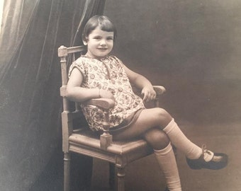 Vintage Antique 1901s Photo Beauty Little Girl Sits in Wooden Chair Posing