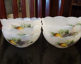 Bowls Arcopal France, Arcopal Fruits de France, Fruits de France, six bowls, six pyrex bowls, Arcopal pyrex bowls, Arcopal pyrex