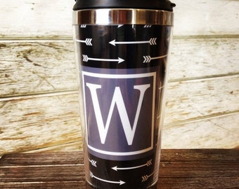 on sale arrow design stainless steel coffee travel mug personalized with color frame monogram